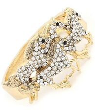 WESTERN COWGIRL cuff horse bracelet in goldtone and crystal