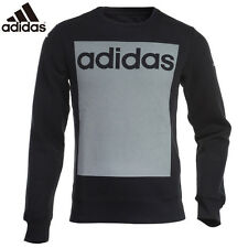 New ADIDAS MEN'S TOP size XL/PERFORMANCE SWEATSHIRT LINEAR 3-STRIPES CREW black