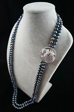36/37 inches Double-Strand Peacock Pearl Necklace with Leopard Head Ornament