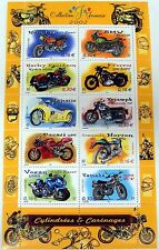 2002 FRANCE MOTORCYCLE STAMPS SHEET OF 10 HARLEY DAVIDSON YAMAHA BMW HONDA VOXAN