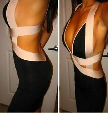 NWT bebe Dress black ivory bandage bodycon top cutout back deep v club S small