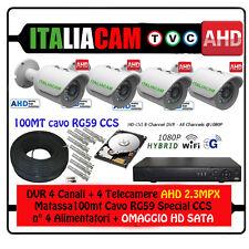 KIT VIDEOSORVEGLIANZA DVR  3G-WIFI + 4 SONY AHD 3000MPX + 100 mt Cavo HD SATA