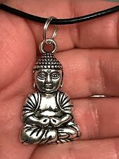 "Asian Large Buddha Charm Tibetan Silver 18"" Necklace"