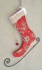 Wood & Metal Red Ice Skate Wall Hanging ~ Christmas Decoration ~ 81-7149