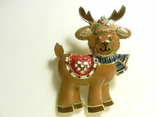 Glitter Enamel SFJ Signed and numbered 49375 REINDEER Christmas Brooch/Pin-CUTE!