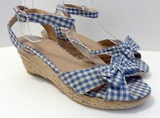 PIPER & BLUE Sz 11 Blue Gingham Check Strappy Espadrille Wedge Heel Shoes Retro