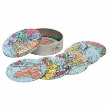 WORLD TRAVELLER MAP COASTER SET IN TIN - by Elite