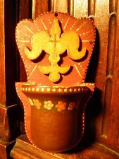 VINTAGE CARVED WOOD HOLY SPIRIT FLEUR DE LIS HOLY WATER FONT