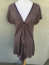 NIGHTCAP Blouse Top Gray Size 3 Large Cap Sleeve Asymmetrical