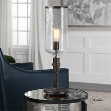 STATELY INDUSTRIAL HAMMERED METAL & HURRICANE GLASS TABLE LAMP READING LIGHT
