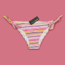 BNWT GORGEOUS COLOUR MIX METALIC ZIG ZAG DESIGNER SIDE TIE BIKINI KNICKERS SZ 10