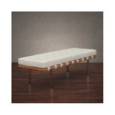 Leather Bench White Entryway Foot Shoe Bed Foyer Coffee Table Mid Century Seatin