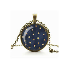 Celestial Stars & Night Sky Galaxy Glass Charm Cameo Pendant Necklace