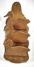 "Vintage Wood Duck Hanging Wall Letter and Key Holder Rack 19.5"" x 8"""