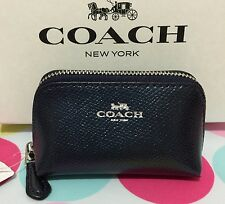 COACH CROSSGRAIN LEATHER MINI COSMETIC CASE/COIN PURSE METALLIC MIDNIGHT F53384