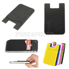 2pcs Silicone Wallet Credit Card Sticker Adhesive Holder Case for iPhone Samsung