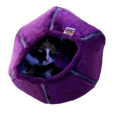 United Pets Cozy Curious Cat Cave Toy Bed kitten cave - purple