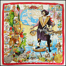 RDC6254 Authentic Hermes 1992 Red Les Ameriques 90cm Silk Scarf by Kermit Oliver