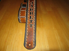 LEATHER GUITAR STRAP CUSTOM MADE (WITH YOUR NAME) 2 1/2 '' WIDE BROWN & BLACK