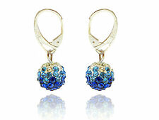 Shamballa Disco Balls Royal Blue, Sky Blue & White Fusion Drop Earrings E426