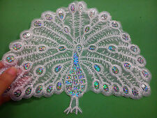 3 large white lace peacock embroidered motifs appliques sequins iron on sew on