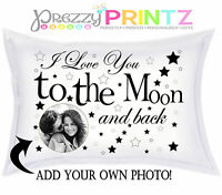 ❤PERSONALISED PILLOWCASE LOVE YOU TO THE MOON & BACK ANY PHOTO VALENTINES GIFT❤