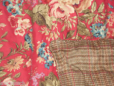 CHAPS SUMMERTON HOUNDSTOOTH FLORAL TARTAN 3PC QUEEN COMFORTER SET