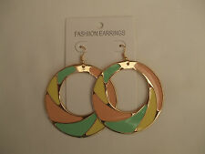 Gold Coloured Pierced Drop Earrings Enamel Detail Yellow, Peach, Green New