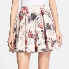 $495 NWT HAUTE HIPPIE FLORAL PRINT  SILK SHORT FLIRTY SKIRT XS CELEBRITIES