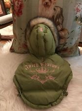 AUTHENTIC Juicy Couture Dog Parka Sage Green And Pink Faux Fur Parka Small