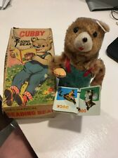 Vintage ALPS Cubby The Reading Bear Mechanical Tin Toy Wind-Up Works