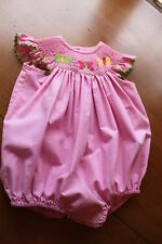 Secret Wishes Girl's 9 M Pink & White Smocked Bubble Romper Butterflies Gingham