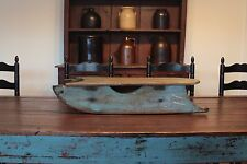 EARLY AAFA ANTIQUE FOLK ART PRIMITIVE WOOD TOY CHILD'S SLED WITH ORIG BLUE PAINT