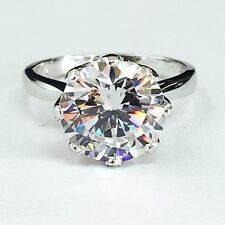 Solid 14k white gold fancy large Cubic Zirconia solitaire engagement ring 10mm