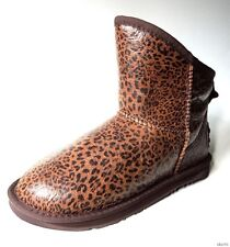 new AUSTRALIA LUXE Cosy LEOPARD leather sheepsking shearling short boots 38 US 7