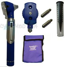 NEW FIBER Otoscope Ophthalmoscope  Examination LED Diagnostic ENT SET Kit-BLUE