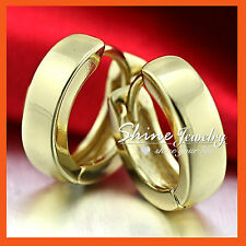 9K 9CT PLAIN YELLOW GOLD FILLED HOOP HUGGIES SLEEPER LADIES GIRLS SOLID EARRINGS