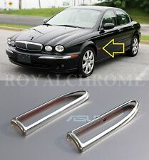 USA STOCK x2 ROYAL CHROME Side Marker Lamp Indicator Trims for Jaguar X TYPE