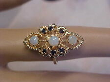 *ESTATE*NATURAL OPAL & BLUE SAPPHIRE COCKTAIL RING 14K YELLOW GOLD sz6.25 GIFT
