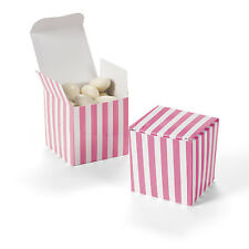 "12 CANDY PINK & WHITE Striped Treat Boxes 2"" Buffet Favor Box Wedding Party"