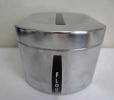 Vintage Mid-Century Kromex Chrome Metal Tin FLOUR Storage Canister Container