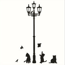 Removable Black Lamp Cat Bird Wall Sticker Mural Decal Adhesive Home Decor