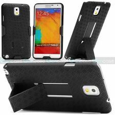 Samsung GALAXY Note 3 N9000 Holster Hard Case Cover with Fold Stand Belt Clip