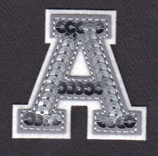 """LETTERS - Silver  Sequin  2"""" Letter """"A"""" - Iron On Embroidered Applique"""