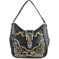 BLACK RHINESTONE BUCKLE WITH FLOWER STITCHING SHOULDER HANDBAG CONCEALED CARRY