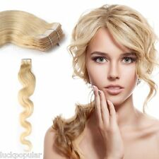 Body Wavy Tape-In Skin Weft Hair Extensions 100% Remy Human Hair Light Blond20''