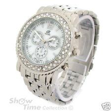 Silver Bracelet 3D Geneva Crystal Bezel Women's Boyfriend Style Watch