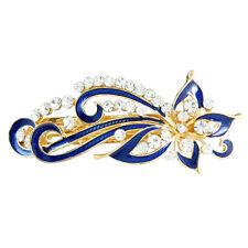 Dark Blue Rhinestones Inlaid Swirl Floral Barrette French Hair Clip LW