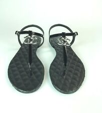 CHANEL THONG SANDALS, BLACK PATENT WITH SILVER LOGO. SIZE 39. BRAND NEW!!
