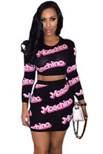 Black with Pink Moschino Print Long Sleeve Skirt Set Party Wear Size UK 10-12